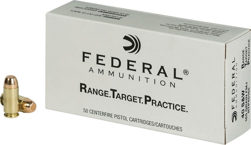 Federal RTP40165 Range and Target 40 Smith & Wesson (S&W) 165 GR Full Metal Jacket - 50rd Box
