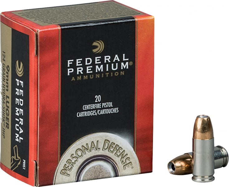 Federal P9HS1 Premium 9mm Hydra-Shok Jacketed Hollow Point 124 GR - 20rd Box