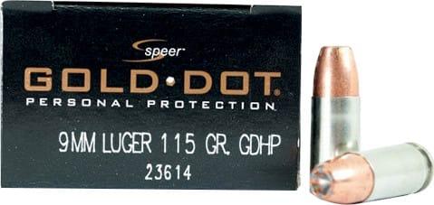 Speer 23614 Gold Dot 9mm 115 GR Gold Dot Hollow Point - 20rd Box