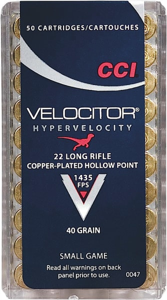 CCI 0047 CCI 22 Long Rifle Velocitor Copper-Plated HP 40 GR - 50rd Box