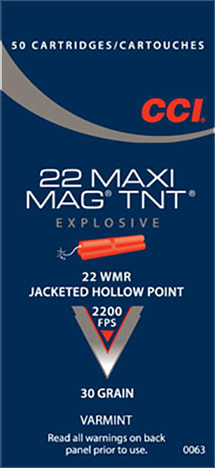 CCI 0063 Varmint Maxi Mag 22 Win Mag Jacketed Hollow Point 30 GR - 50rd Box