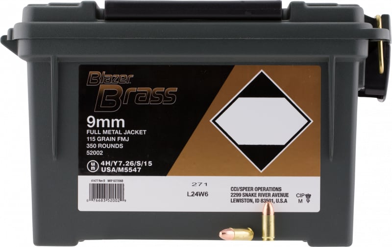 CCI 52002 Blazer 9mm Luger 115 GR Plano Can 350 Plano Bx - 350rd Case