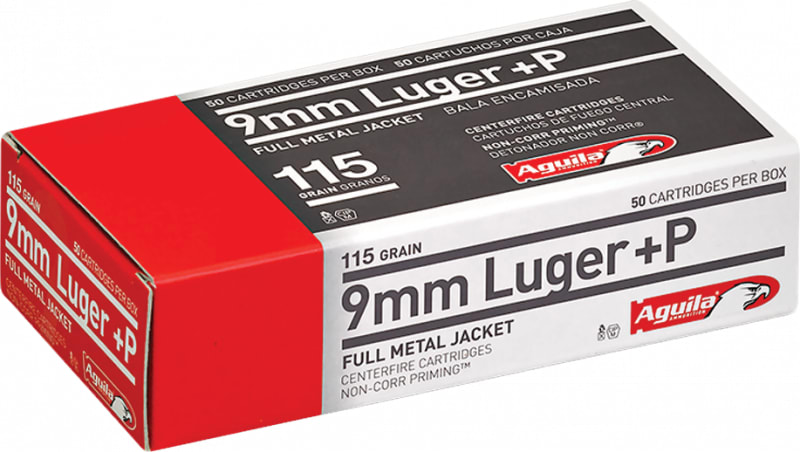 Aguila 1E092118 9mm Luger +P 115 GR Full Metal Jacket - 50rd Box