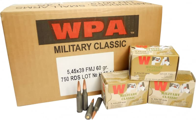 Wolf MC545BFMJ Military Classic 5.45x39mm Full Metal Jacket 60  GR - 750rd Case
