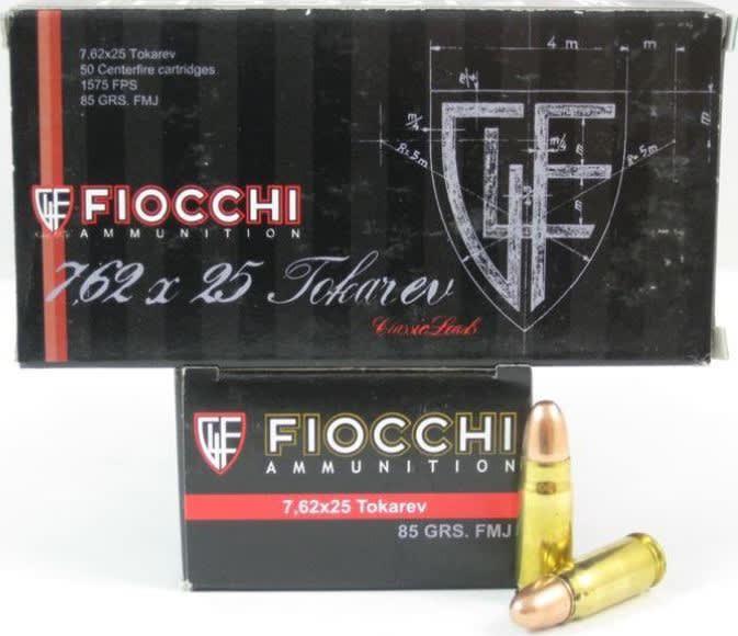 Fiocchi 762TOK Specialty 7.62X25mm Tokarev 88 GR Metal Case (FMJ) - 50rd Box