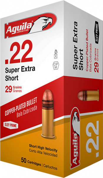 Aguila 1B222110 Standard High Velocity 22 Short 29 GR Solid Point - 50rd Box