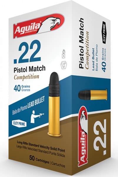 Aguila 1B222516 Match Competition Standard Velocity 22 Long Rifle (LR) 40 GR Lead Round Nose - 50rd Box