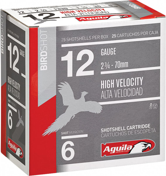 "Aguila 1CHB1206 Hunting High Velocity 12GA 2.75"" 1-1/4oz #6 Shot - 250sh Case"