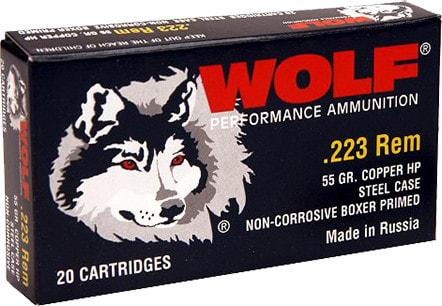Wolf 22355HP Performance .223/5.56 NATO Bimetal Jacket 55 GR Hollow Point - 500rd Case