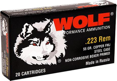 Wolf 22355FMJTINS Performance .223/5.56 NATO FMJ 55 GR - 500rd Case