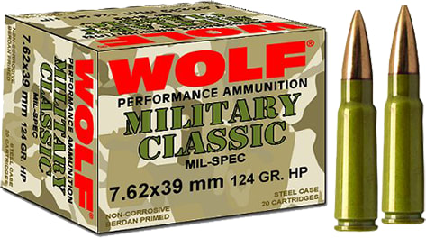Wolf MC762BSP Military Classic 7.62x39mm Soft Point 124 GR - 1000rd Case