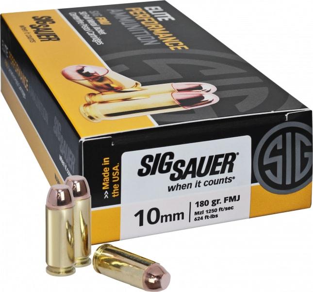 Sig Sauer E10MB1-50 Full Metal Jacket 10mm 180 GR FMJ - 50rd Box