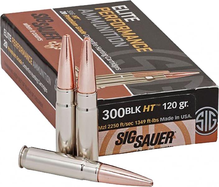 Sig Sauer E300H120 300 Blackout Elite Hunting 300 AAC Blackout/Whisper (7.62X35mm) 120 GR Open Tip Match - 20rd Box