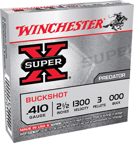 "Winchester Ammo XB41000 Super-X 410GA 2.5"" Copper-Plated Lead 3 Pellets 000 Buck - 5sh Box"