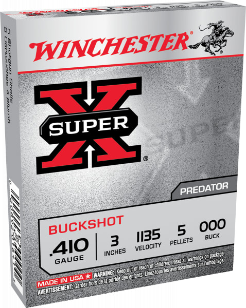 "Winchester Ammo XB413 Super-X 410GA 3"" Copper-Plated Lead 5 Pellets 000 Buck - 5sh Box"