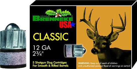 """Brenneke SL122CLM Classic Magnum 12GA 2.75"""" 1-1/8oz Slug - 5sh Box"""
