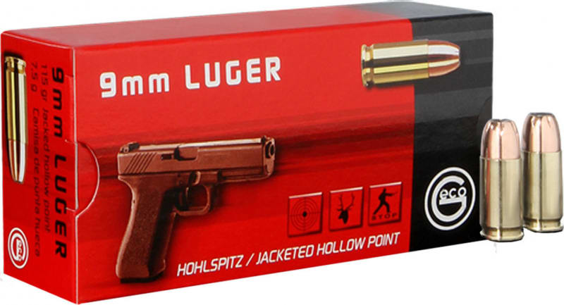 Geco 270740050 9mm Luger 115 GR Jacketed Hollow Point - 50rd Box