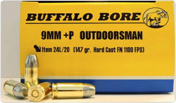 Buffalo Bore Ammunition 24L/20 Outdoorsman 9mm Luger +P 147 GR Hard Cast Flat Nose - 20rd Box