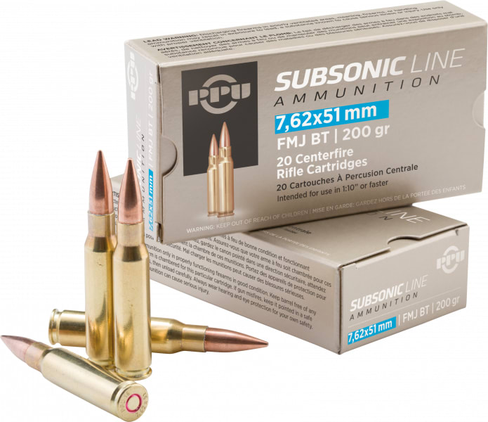 PPU PPS762 Subsonic 308 Winchester/7.62 NATO 200 GR Full Metal Jacket Boat Tail - 20rd Box