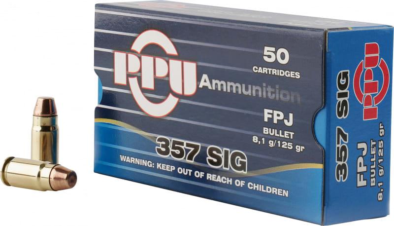 PPU PPH357S Handgun 357 Sig 125 GR Flat Point Jacketed - 50rd Box