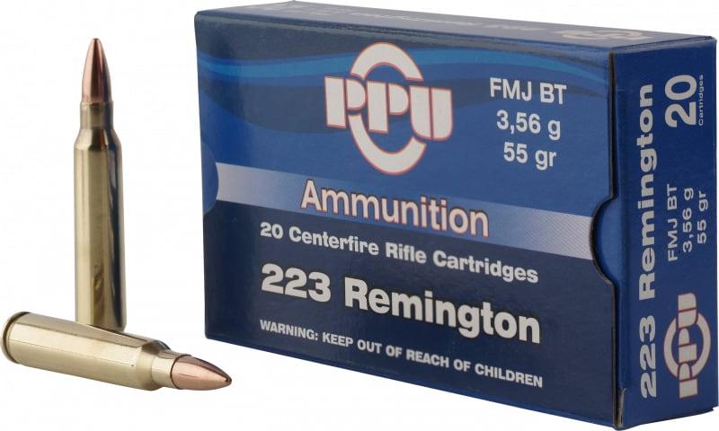 PPU PP223F1 Standard Rifle 223 Remington/5.56 NATO 55 GR Full Metal Jacket Boat Tail - 20rd Box