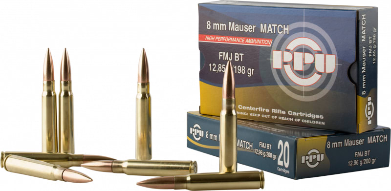 PPU PPM8 Match 8mm Mauser 200 GR Full Metal Jacket - 20rd Box
