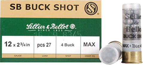 "Sellier & Bellot SB12BSB Shotgun 12GA 2.75"" Lead 27 Pellets 4 Buck - 25sh Box"