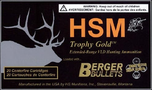 HSM BER260130VLD Trophy Gold 260 Rem 130 GR Boat Tail Hollow Point - 20rd Box