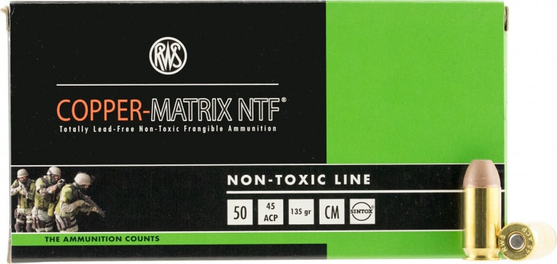 RWS 204540050 Copper Matrix 45 ACP 135 GR Non-Toxic - 50rd Box