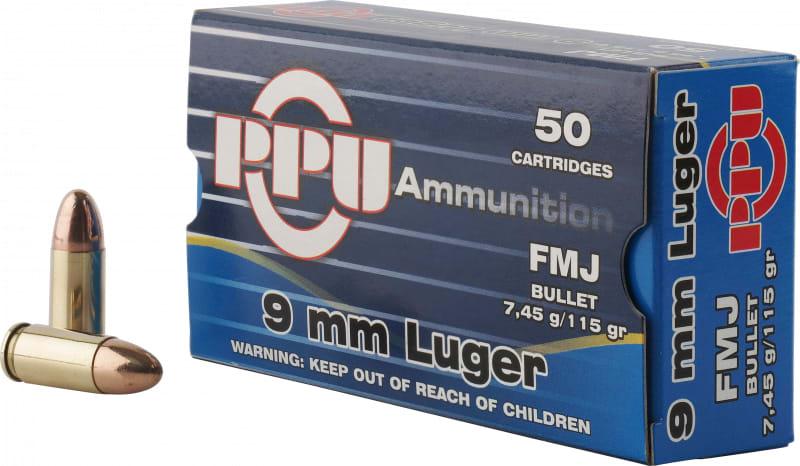 PPU PPH9F1 Handgun 9mm Luger 115 GR Full Metal Jacket - 50rd Box