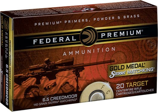 Federal GM65CRD1 Gold Medal 6.5 Creedmoor 140 GR Sierra MatchKing Boat Tail Hollow Point - 20rd Box