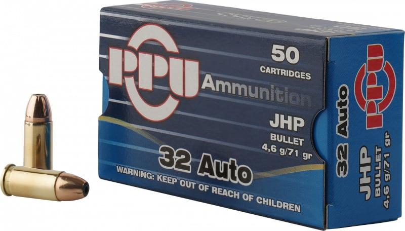 PPU PPD32A Handgun 32 ACP 71 GR Jacketed Hollow Point - 50rd Box