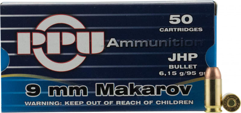 PPU PPR9.41 Handgun 9x18 Makarov 93 GR Jacketed Hollow Point - 50rd Box