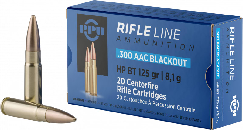 PPU PP300BH Standard Rifle 300 AAC Blackout/Whisper (7.62x35mm) 125 GR Hollow Point Boat Tail - 20rd Box