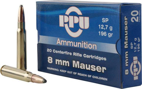 PPU PP8S Metric Rifle 8mm Mauser 196 GR Soft Point - 20rd Box