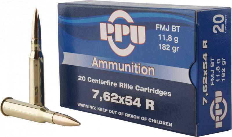 PPU PP76254F Metric Rifle 7.62x54mm Russian 182 GR Full Metal Jacket - 20rd Box