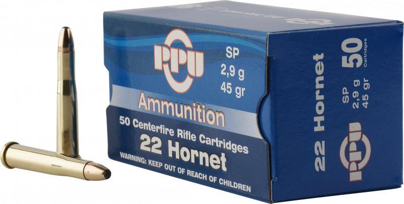 PPU PP22H Standard Rifle 22 Hornet 45 GR Soft Point - 50rd Box