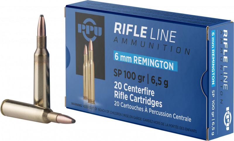 PPU PP6R Standard Rifle 6mm Remington 100 GR Soft Point - 20rd Box