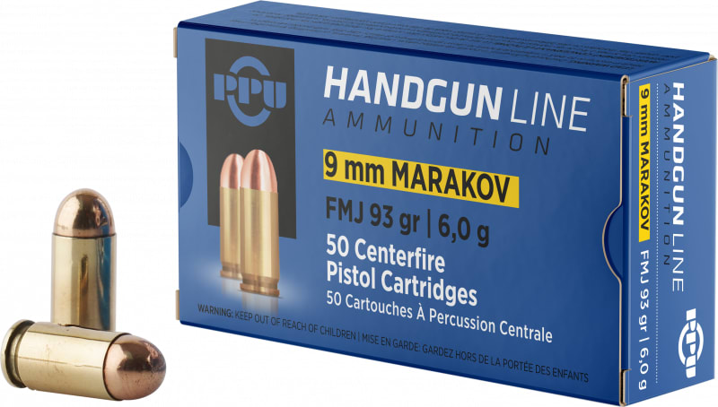 PPU PPH9MF Handgun 9x18 Makarov 93 GR Full Metal Jacket - 50rd Box