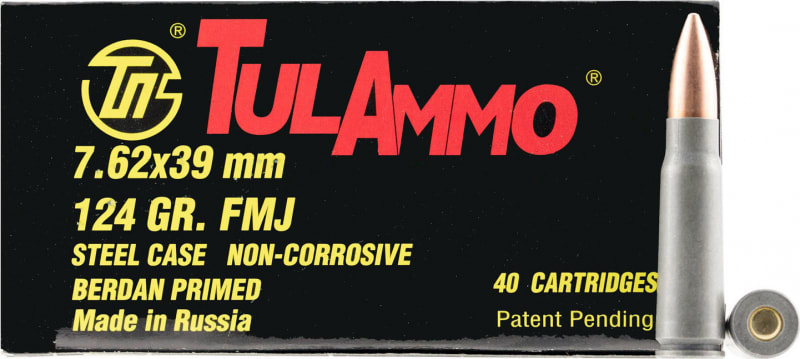 Tulammo UL076211 Centerfire Rifle 7.62x39mm 124 GR Hollow Point - 40rd Box