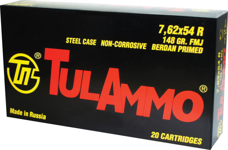 Tulammo TA762548 Centerfire Rifle 7.62X54mm Russian 148 GR FMJ - 20rd Box
