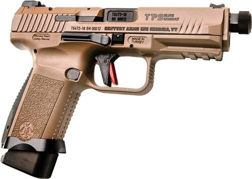 "Century Arms TP9 Elite Semi-Automatic Combat Pistol 9mm 1-15 & 1-18rd Magazine 4.98"" Threaded Barrel - Desert Tan - HG4617D-N"
