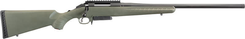 "Ruger 26973 American Predator Bolt 22"" 3+1 Synthetic Moss Green Stock Black"