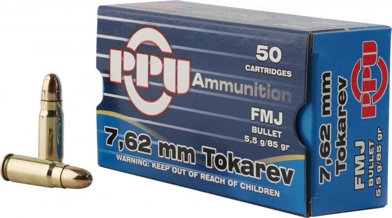 PPU PPH7TF Handgun 7.62x25mm Tokarev 85 GR Full Metal Jacket - 50rd Box