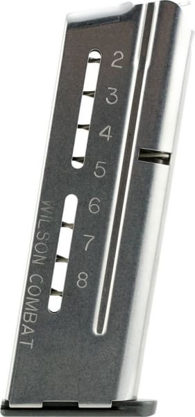 Wilson Combat 5009C 1911 Officer Elite Tactical Magazine 9mm Luger 8rd Stainless Steel Finish ETM Base Pad