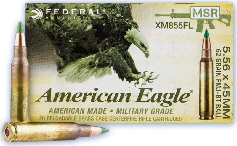 Federal American Eagle XM Rifle Ammunition 5.56 NATO 62 Gr, 20 Round Box- XM855FL