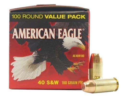 American Eagle 40 S&W 180 GR FMJ Ammo, AE40R100 - 100rd Box