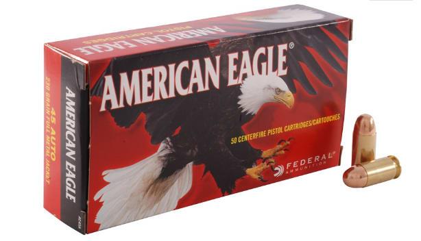 American Eagle .45 ACP 230 GR FMJ Ammo, AE45A - 50rd Box