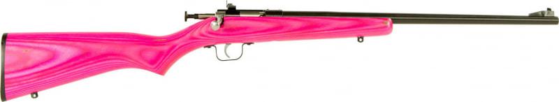 """Crickett KSA2225 Single Shot Bolt 22 LR 16.12"""" 1 Laminate Pink Stock Blued"""