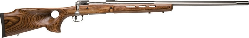 "Savage 18516 12 BTCSS Bolt 223 Rem 26"" 4+1 Laminate Thumbhole Brown Stock Stainless Steel"